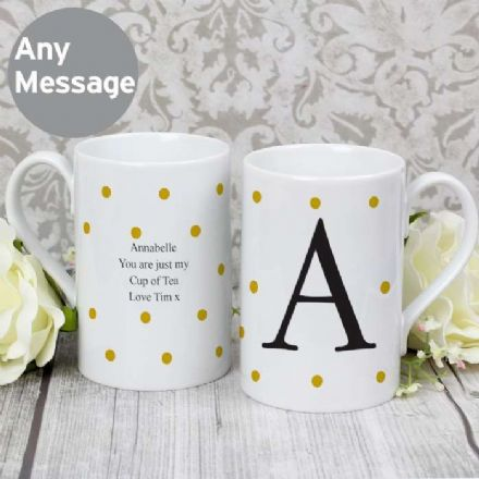 Personalised Monogram Gold Spot Windsor Mug